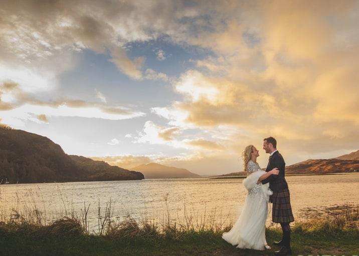 Loch Duich Wedding Couple sunset